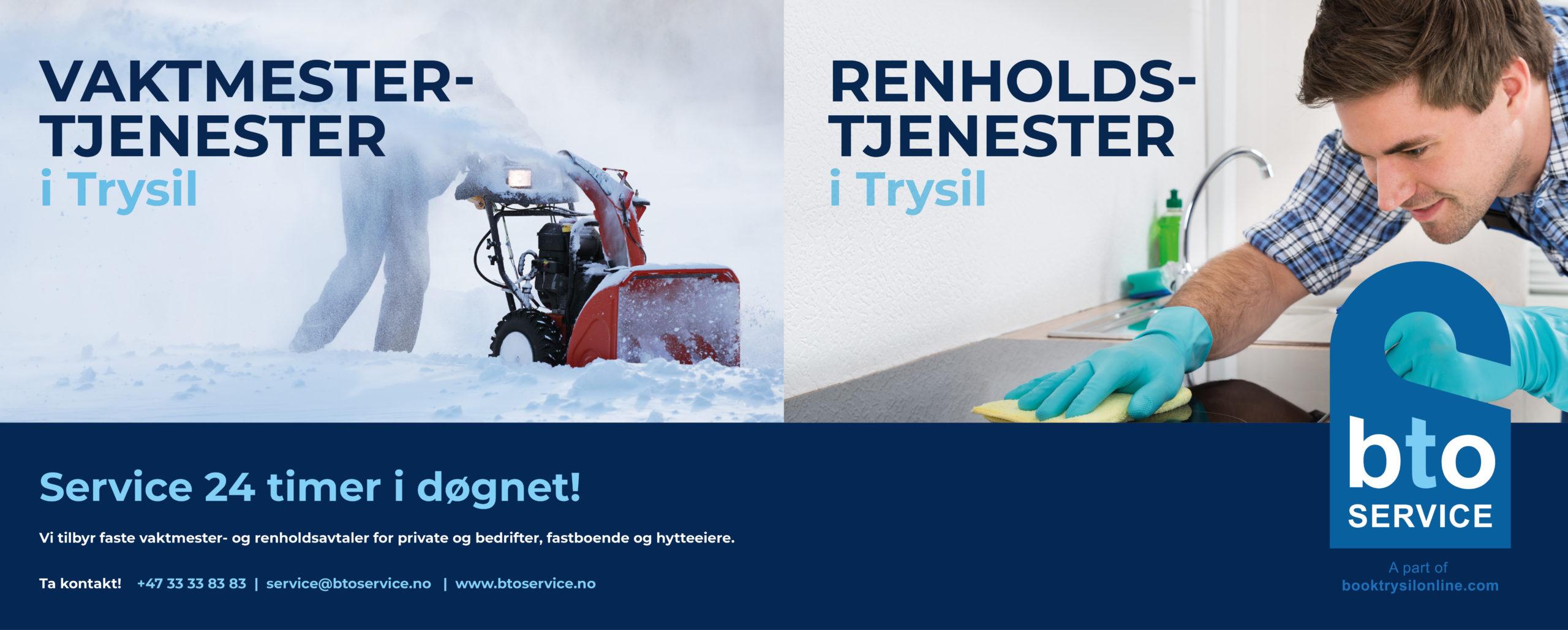 BTO service annonse, vaktmester og renholdstjenester i Trysil