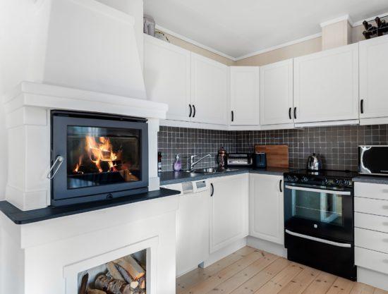 kjøkken med peis, leilighet i Trysil til leie, Utsikten 787A