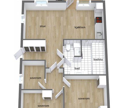 planløsning, leilighet i Trysil til leie, Snøhvit 1188A