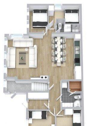 plantegning, leilighet i Trysil til leie, Ugla 917