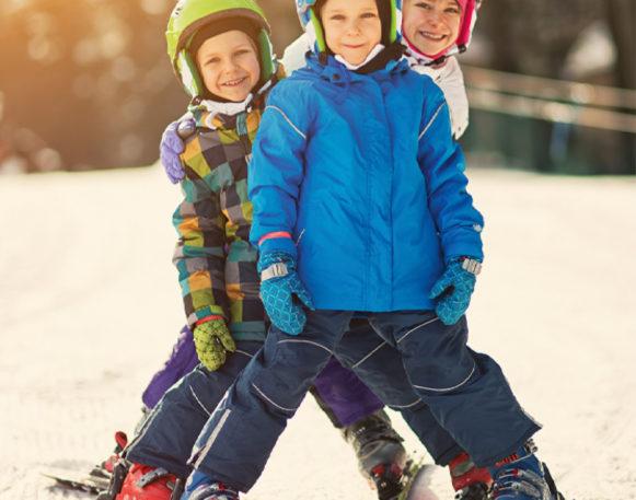 Boys skiing in Trysil