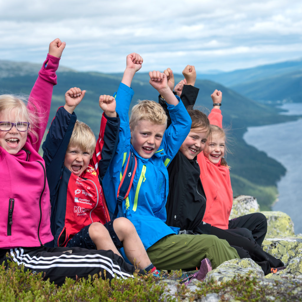 kids hiking in Trysil, on the top of the mountain